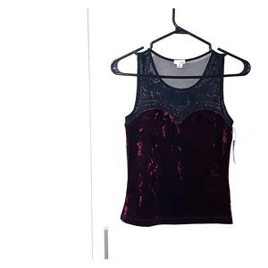BUY ONE GET ONE FREE. Burgundy velvet top.
